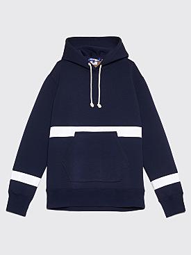 Junya Watanabe MAN Reflective Stripe Hooded Sweatshirt Navy