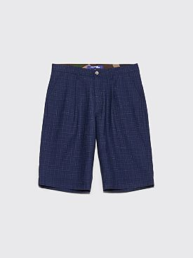 Junya Watanabe MAN Tropical Wool Shorts Checkered Navy