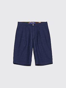 Junya Watanabe MAN Tropical Wool Shorts Checkered Navy