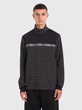 Junya Watanabe MAN Reflective Stripe Half Zip Sweater Black