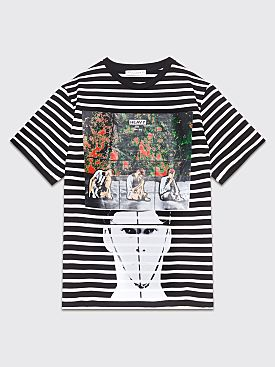 JW Anderson Gilbert + George Police Heavy Print Stripe T-shirt Black