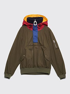JW Anderson Funnel Neck Half Zip Jacket Olive