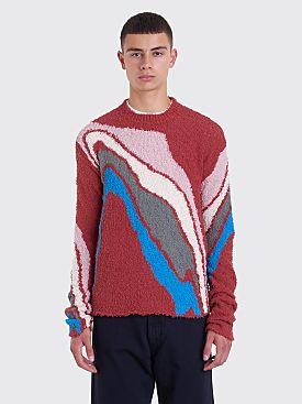 Kiko Kostadinov Delva Body Intarsia Knitted Sweater Terracotta