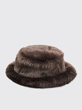 Landlord New York Faux Fur Bucket Hat Grey