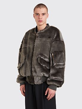 Landlord New York Faux Fur Bomber Jacket Grey