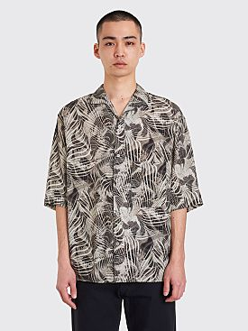 Lemaire Convertible Collar Short Sleeve Shirt Chalk Black