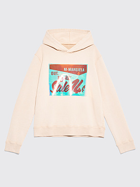 Maison Margiela Hooded Patch Logo Sweatshirt Beige