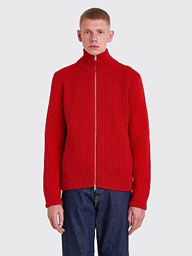 Maison Margiela Rib Knit Zip Sweater Red