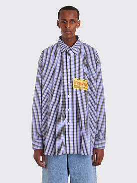 Martine Rose Oversized Shirt Checkered Blue