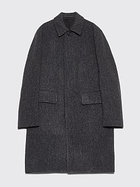 Margaret Howell Fly Front Herringbone Wool Coat Charcoal