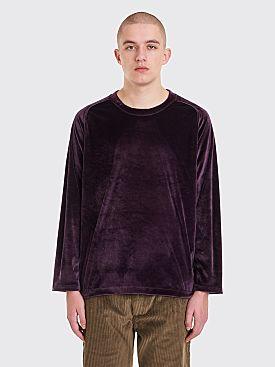 Needles U-Neck LS Velour T-Shirt Purple