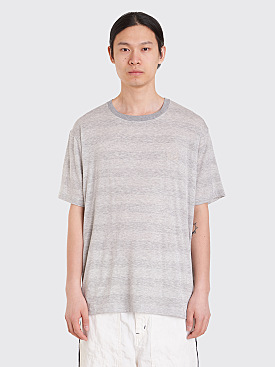 Needles Papillon Embroidery Crew Neck T-Shirt Lame Stripe Grey