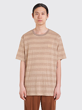 Needles Papillon Embroidery Crew Neck T-Shirt Lame Stripe Beige