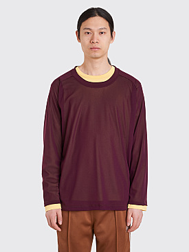 Needles U-Neck LS T-Shirt Burgundy