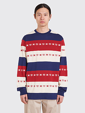 Needles Striped Papillon Jacquard Crew-Neck T-Shirt Tricolor
