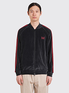 Needles Rib Collar Velour Track Jacket Charcoal