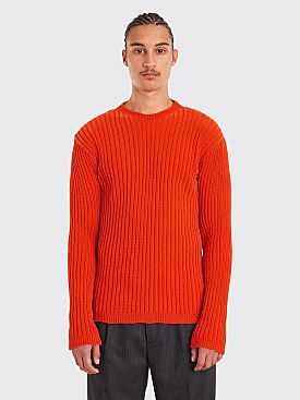 Our Legacy Popover Roundneck Chenille Sweater Red