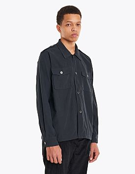 Our Legacy Casual Military Tech Cupro Shirt Black