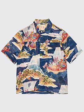 Our Legacy Box 2 Pocket Shirt Crossing The Seven Seas Blue