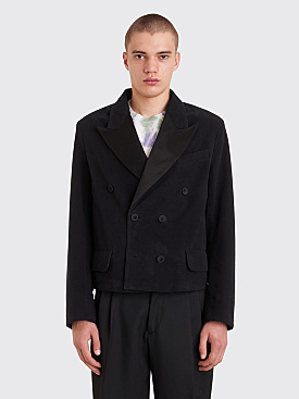 Our Legacy Crop Smoking Jacket Black Moleskin