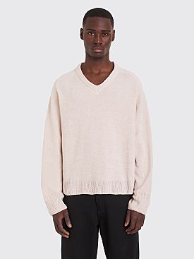Our Legacy V-Neck Raglan Chenille Sweater Light Pink