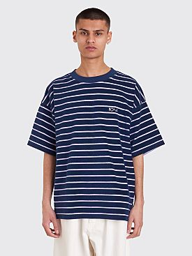 Polar Skate Co. Striped Terry Surf T-Shirt Navy / Violet