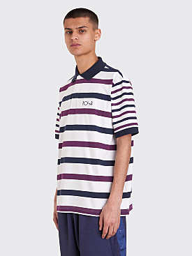 Polar Skate Co. Halls Rugby Shirt White / Navy / Purple
