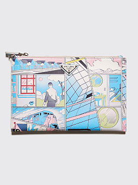 Prada Comics Print Leather Document Holder Light Blue