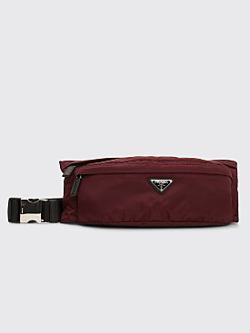 Prada Nylon Belt Bag Burgundy