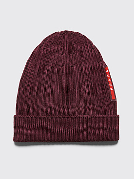 Prada Ribbed Wool Beanie Burgundy