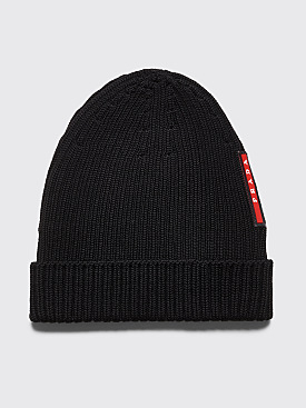 Prada Ribbed Wool Beanie Black