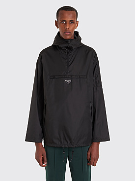 Prada Hooded Gabardine Nylon Anorak Black