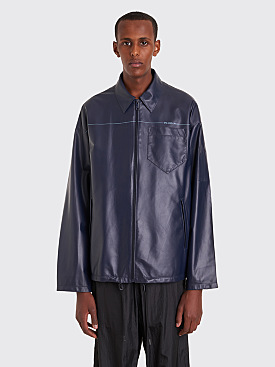 Prada Leather Coach Jacket Navy