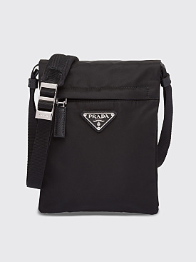 Prada Technical Nylon Flap Shoulder Bag Black