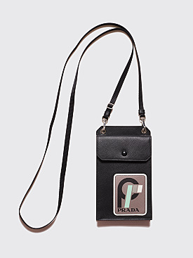 Prada Saffiano Leather Patch Logo Cellphone Bag Black