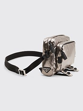 Prada Cross Body Bag Metal Silver