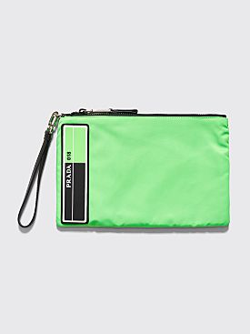 Prada Logo Patch Pouch Green
