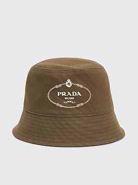 Prada Canvas Bucket Hat Logo Olive
