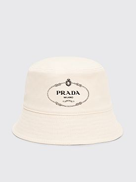 Prada Canvas Bucket Hat Logo Cream