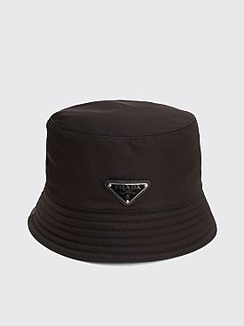 19d90f9bea5 Prada Nylon Bucket Hat Triangle Logo Black