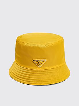 Prada Nylon Bucket Hat Triangle Logo Yellow