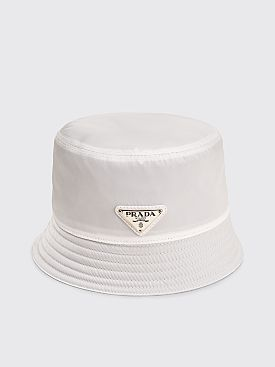 Prada Nylon Bucket Hat Triangle Logo White