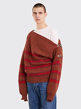 Raf Simons Boatneck Sweater With Buckles Terra Wine