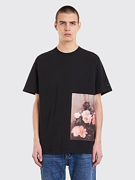 Raf Simons Regular Fit T-Shirt Flowers Black