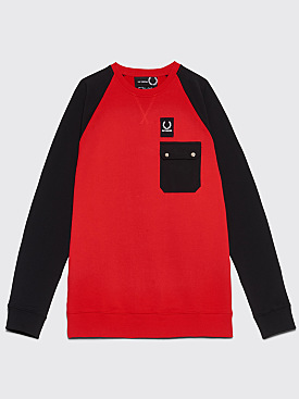 Raf Simons x Fred Perry Color Block Sweatshirt Goji Berry