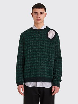 Raf Simons Knitted Jacquard Sweater Metallic Dark Green
