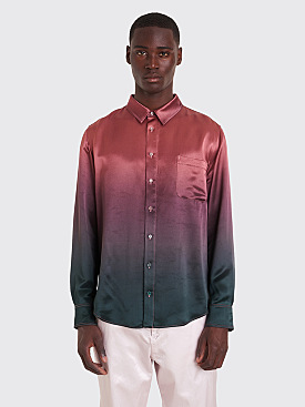 Sies Marjan Sander Satin Dégradé Shirt Bottle Green / Dark Salmon