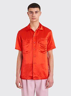 Sies Marjan Dean Washed Satin Pocket Shirt Scarlet Red