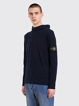 Stone Island Hooded Boucle Sweater Navy