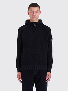 Stone Island Knitted Terry Hooded Sweatshirt Black